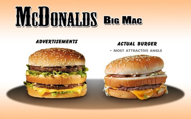 реклама и действительность в Макдональдс