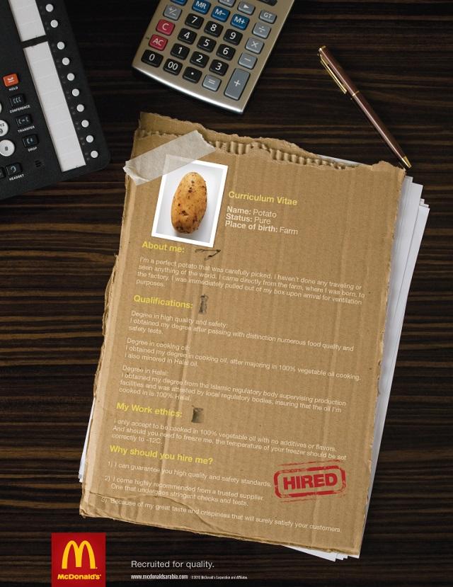 реклама Макдональдс - картофель