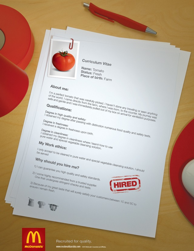 реклама Макдональдс - томат