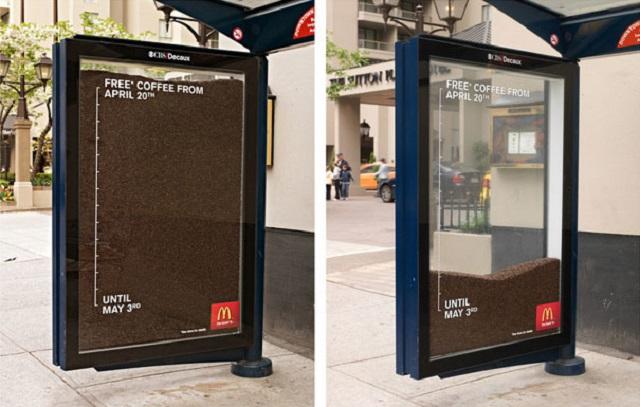 Бесплатный кофе в Макдональдс, реклама
