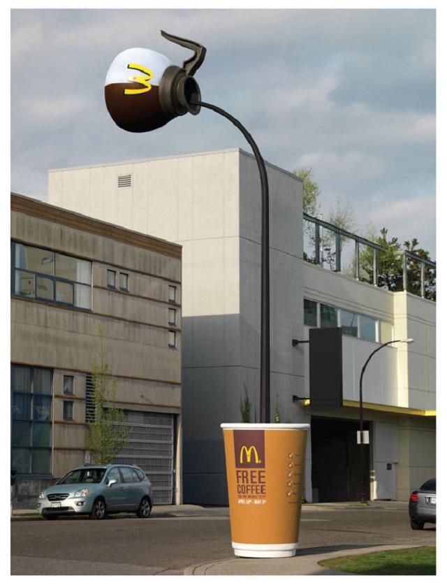 Бесплатный кофе в Макдональдс, фонарный столб