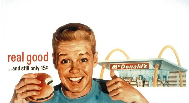 реклама Макдональдс 50-х - гамбургер за 15 центов