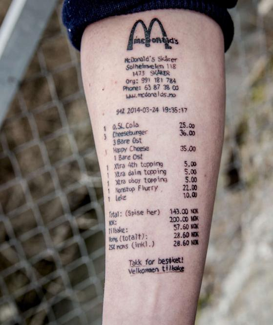 татуировка в виде чека Макдональдс