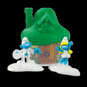 Светло-зелёный домик со Смурфиками