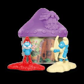 Светло-фиолетовый домик со Смурфиками